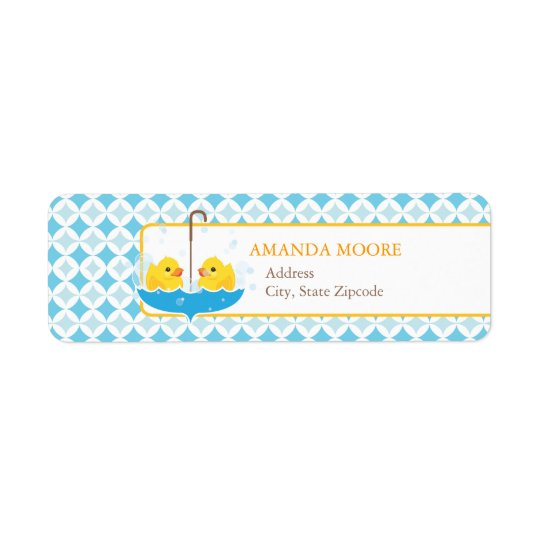 Twin Rubber Duckies Address Label