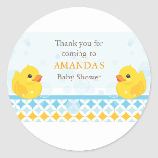 Twin Rubber Duckies Baby Shower Favor Sticker
