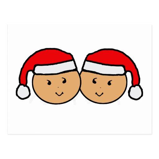 Twin Santa Hat Graphic Post Card