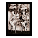 Twin Showgirls in Feathers Postcard