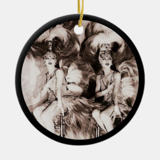 Twin Showgirls in Feathers Round Ceramic Decoration