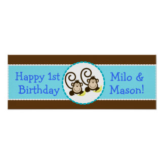 TWIN Silly Monkeys Personalized Birthday Banner Poster