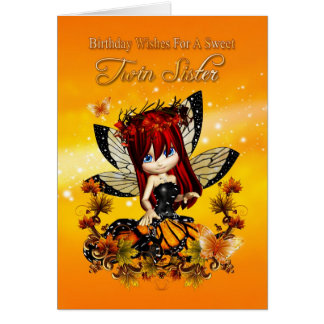 twin sister birthday card - birthday autumn color