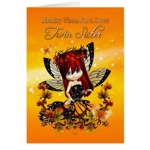 twin sister birthday card - birthday autumn color