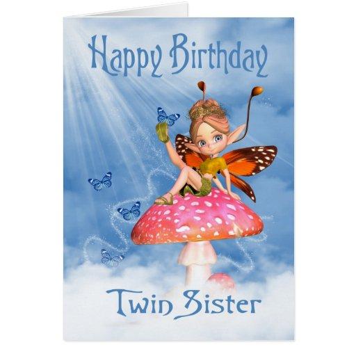 Twin Sister Birthday Card - Cute Fairy On A Mushro