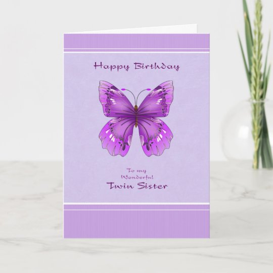 Twin Sister Birthday Card Purple Butterfly Zazzle
