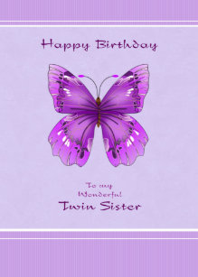 Twin sister birthday cards invitations zazzle twin sister birthday card purple butterfly bookmarktalkfo