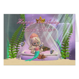 Twin Sister Birthday card with little mermaid and