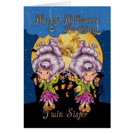 twin sister birthday halloween card with cute witc