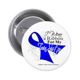 Twin Sister Blue Ribbon - Colon Cancer 6 Cm Round Badge