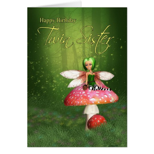 Twin Sister Fairy Birthday Card - Woodland Fairy
