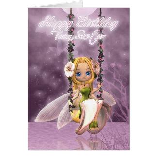 Twin Sister Happy Birthday cute fairy on flower sw Greeting Card