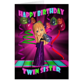Twin Sister Happy Birthday with Cute little Cutie Card