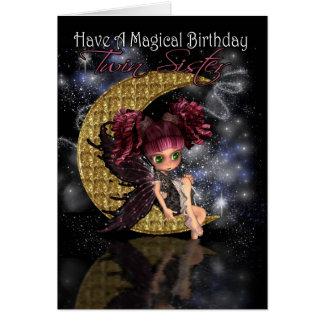 Twin Sister Magical Birthday cute little moon fair Greeting Card