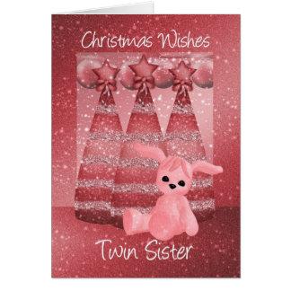Twin Sister Sparkle Christmas Greeting Card Dusky