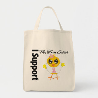 Twin Sister Support Breast Cancer Canvas Bags