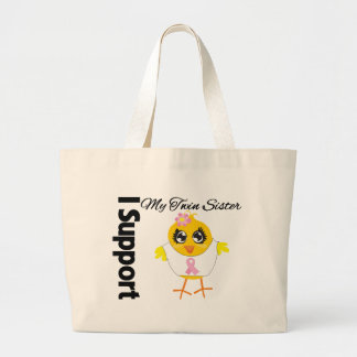Twin Sister Support Breast Cancer Tote Bags