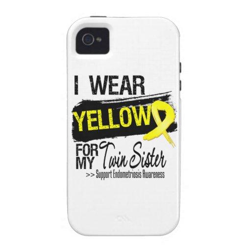 Twin Sister Yellow Ribbon Endometriosis Vibe iPhone 4 Cases