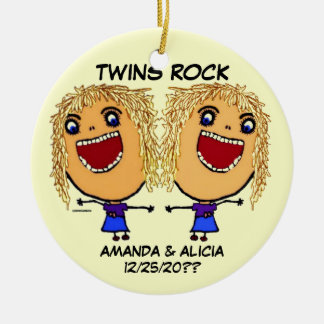 Twin Sisters Rock Cartoon Christmas Ornament