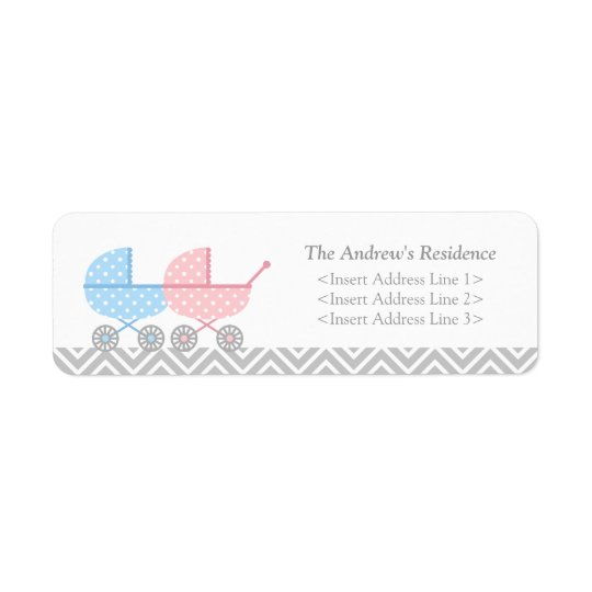 Twin Strollers Baby Shower Return Address Labels