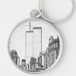Twin Towers Silver-Colored Round Key Ring