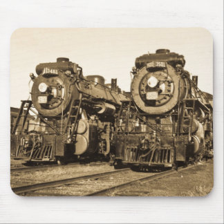 Twin Train Engines Vintage Locomotives Railroad Mouse Mat