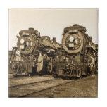 Twin Train Engines Vintage Locomotives Railroad Tiles