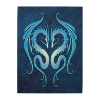 Twin Tribal Dragons, Blue Wood Canvases
