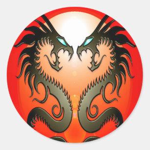 Twin Tribal Dragons Classic Round Sticker