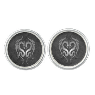 Twin Tribal Dragons, Dark Gray Cuff Links