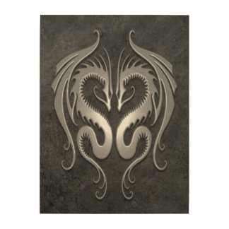 Twin Tribal Dragons, Dark Gray Wood Canvases
