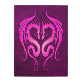 Twin Tribal Dragons, Purple Wood Print