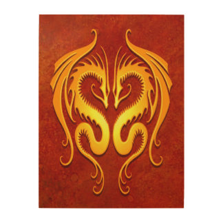 Twin Tribal Dragons, Red and Yellow Wood Print