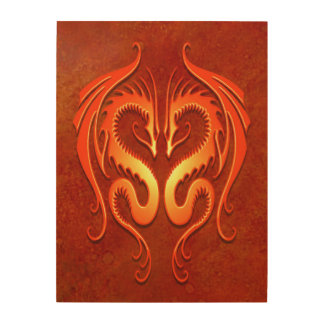Twin Tribal Dragons, Red Wood Prints
