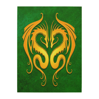 Twin Tribal Dragons, Yellow and Green Wood Canvases