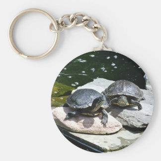 Twin Turtles - Basic Round Button Key Ring