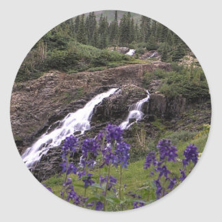 Twin Waterfall and Purple Flowers Classic Round Sticker