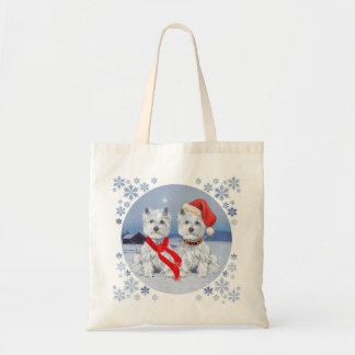 Twin Westies on a Wintry Evening Tote Bag