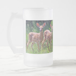 Twin Whitetail Deer Fawns in the Hawkweed Frosted Glass Mug