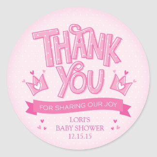 Twincess Twin Girls Baby Shower Thank You Sticker
