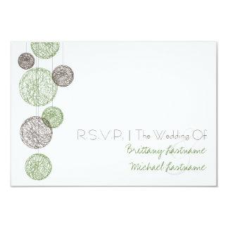 Twine Globes Wedding R.S.V.P. Green & Brown 3.5x5 Paper Invitation Card