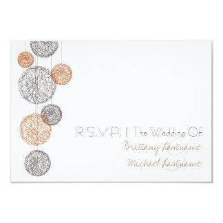 Twine Globes Wedding R.S.V.P. Orange & Brown 3.5x5 Paper Invitation Card