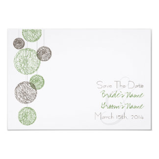Twine Globes Wedding Save The Date - Green & Brown 3.5x5 Paper Invitation Card