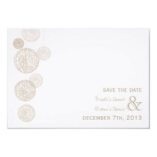 Twine Globes Wedding Save The Date 3.5x5 Paper Invitation Card