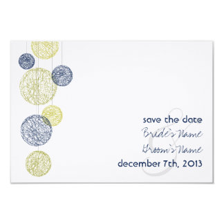 Twine Globes Wedding Save The Date - Navy & Yellow 3.5x5 Paper Invitation Card