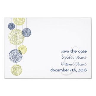 "Twine Globes Wedding Save The Date - Navy & Yellow 3.5"" X 5"" Invitation Card"