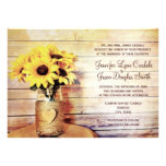 Twine Wrapped Mason Jar Sunflower Wedding Invites