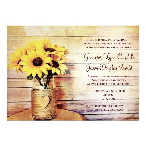 Twine Wrapped Mason Jar Sunflower Wedding Invites Invitations