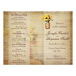 Twine Wrapped Mason Jar Sunflower Wedding Program 21.5 Cm X 28 Cm Flyer