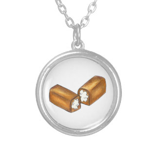 Twinkie Cream-Filled Snack Cake Food Foodie Gift Silver Plated Necklace